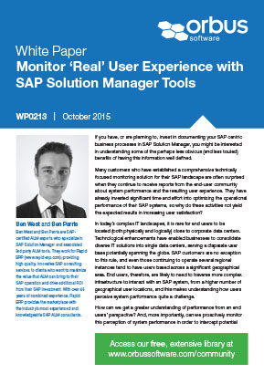 Monitor 'Real' User Experience with SAP Solution Manager Tools