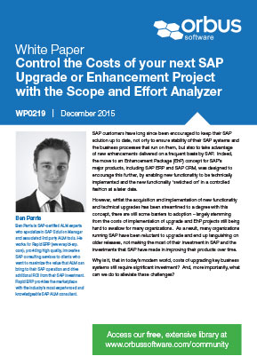 Control the Costs of your next SAP Upgrade or Enhancement Project with the Scope and Effort Analyzer