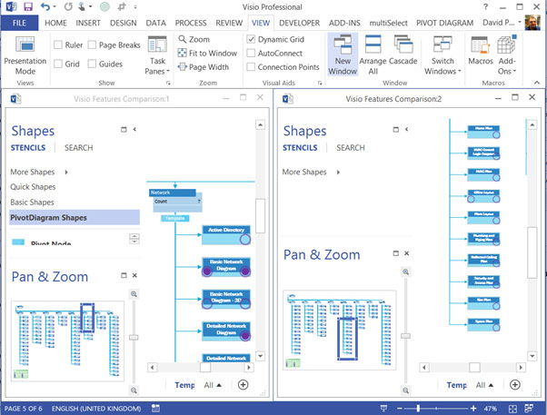 panning and zooming in visio 2013 05 - Windows Visio 2013