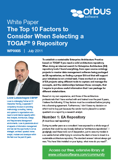 Top Ten Factors to Consider When Selecting a TOGAF® 9 Repository