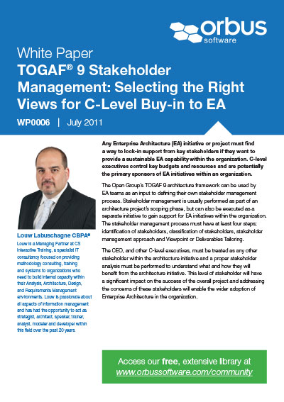 TOGAF 9 Stakeholder Management: Selecting The Right Views for C-Level Buy In To EA