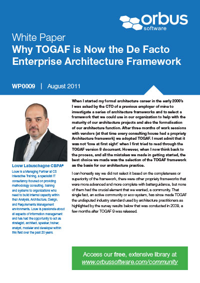 Why TOGAF 9 is Now the De facto EA Standard