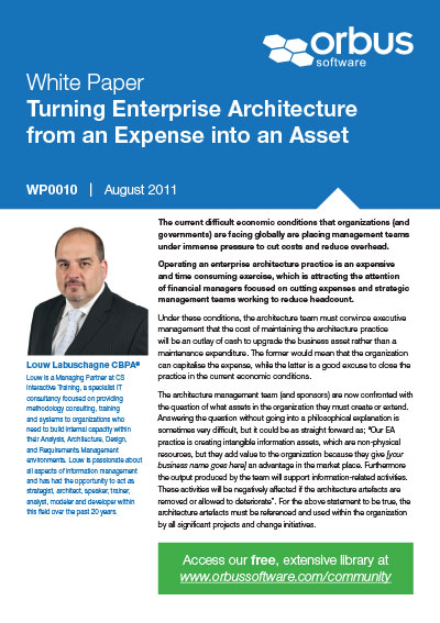 Turning Enterprise Architecture from an Expense into an Asset