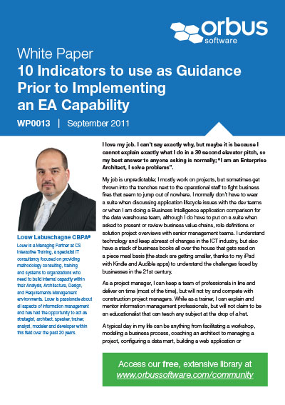 10 Indicators to Use as Guidance Prior to Implementing an EA Capability