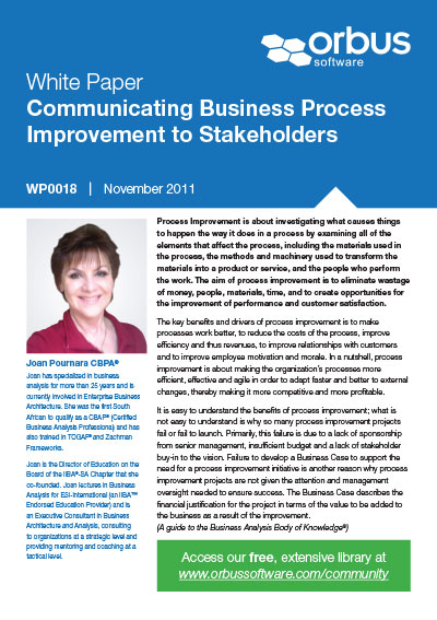 Communicating Business Process Improvement to Stakeholders