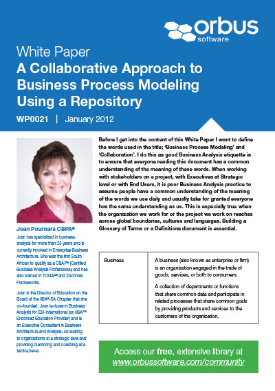 A Collaborative Approach to Business Process Modeling Using a Repository