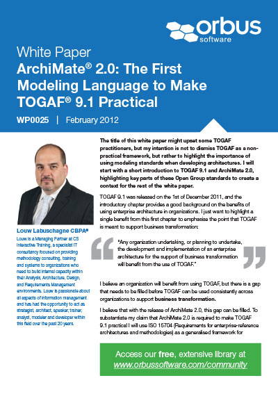 ArchiMate® 2.0: The First Modeling Language to Make TOGAF® 9.1 Practical