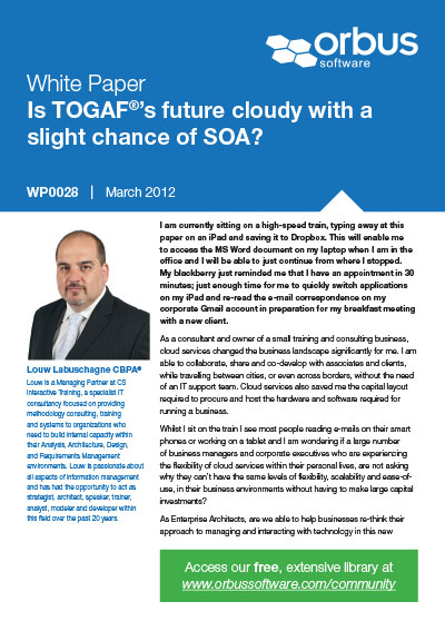Is TOGAF's future cloudy with a slight chance of SOA?