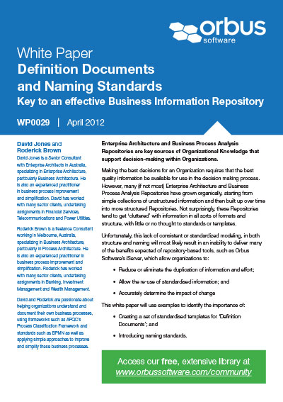 Definition Documents and Naming Standards; Key to an effective Business Information Repository
