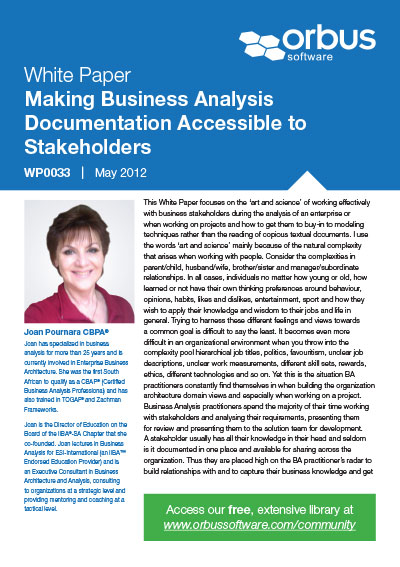 Making Business Analysis Documentation Accessible to Stakeholders