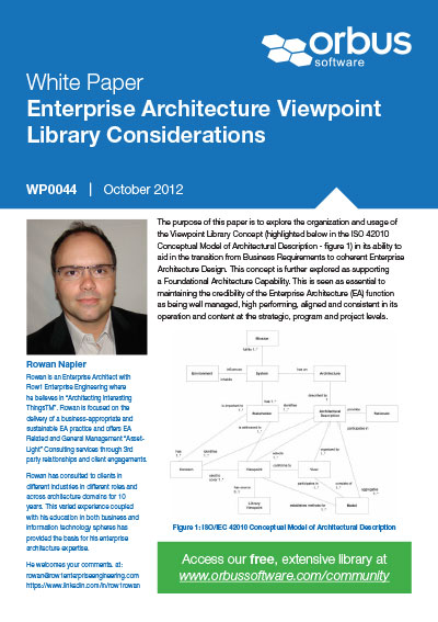 Enterprise Architecture Viewpoint Library Considerations
