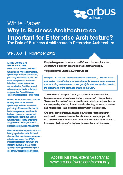 Why is Business Architecture so Important for Enterprise Architecture?