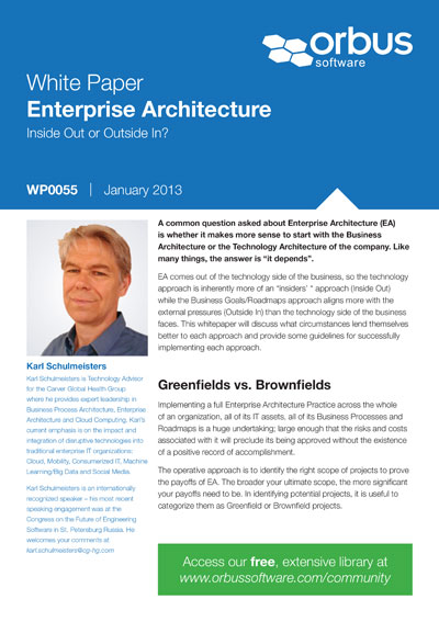 Enterprise Architecture: Inside Out or Outside In?