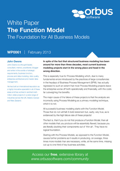 The Function Model - the Foundation for All Business Models