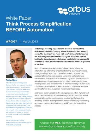 Think Process Simplification BEFORE Automation