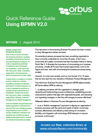 Quick Reference Guide Using BPMN