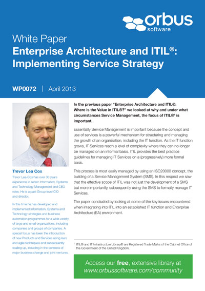 Enterprise Architecture and ITIL: Implementing Service Strategy