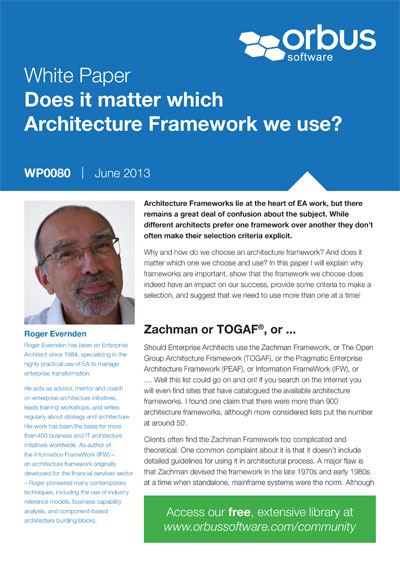 Does it matter which Architecture Framework we use?