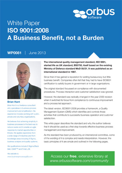 ISO 9001:2008 A Business Benefit, not a Burden
