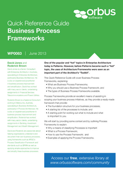 Quick Reference Guide: Business Process Frameworks