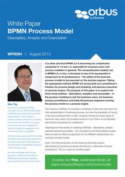 BPMN Process Model Descriptive, Analytic and Executable