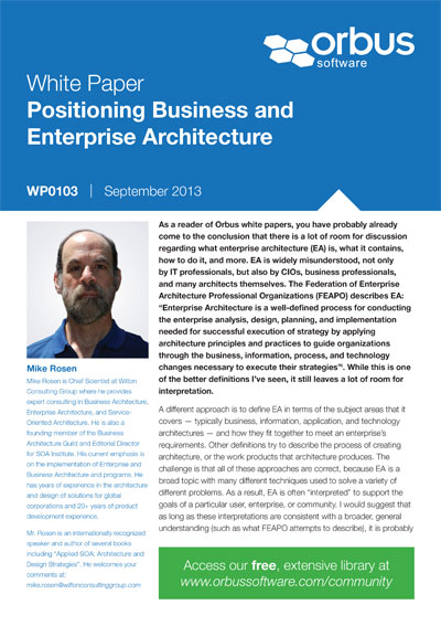 Positioning Business and Enterprise Architecture