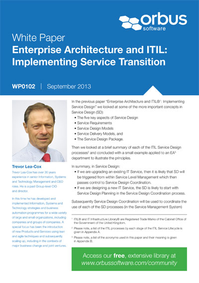Enterprise Architecture and ITIL: Implementing Service Transition