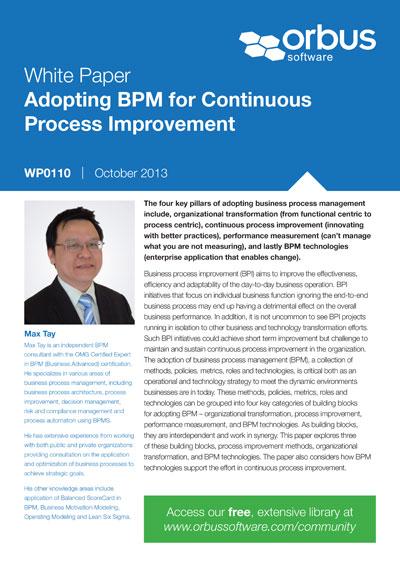 Adopting BPM for Continuous Process Improvement