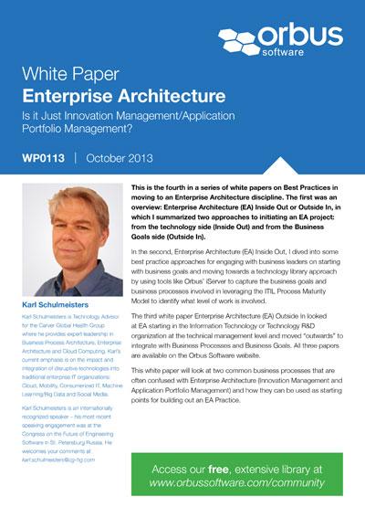 Enterprise Architecture: Is it Just Innovation Management/Application Portfolio Management?