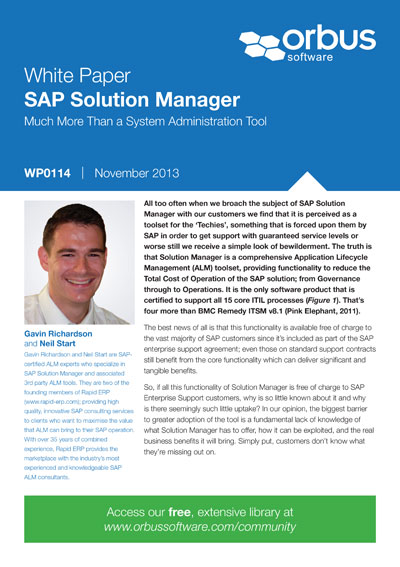 SAP Solution Manager: Much More Than a System Administration Tool