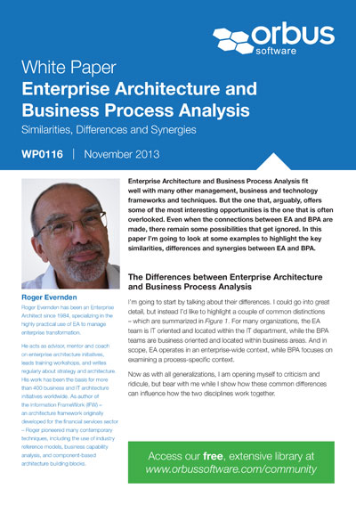 Enterprise Architecture and Business Process Analysis: Similarities, Differences and Synergies
