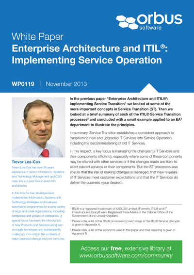 Enterprise Architecture and ITIL: Implementing Service Operation