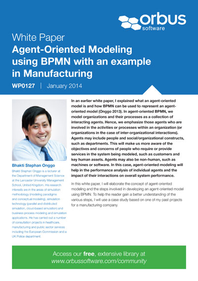 Agent-Oriented Modeling using BPMN with an example in Manufacturing