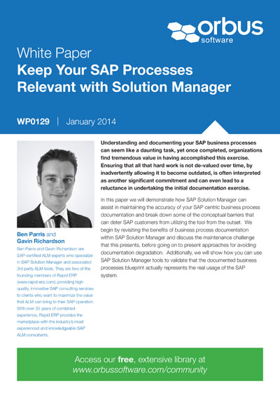 Keep Your SAP Processes Relevant with Solution Manager