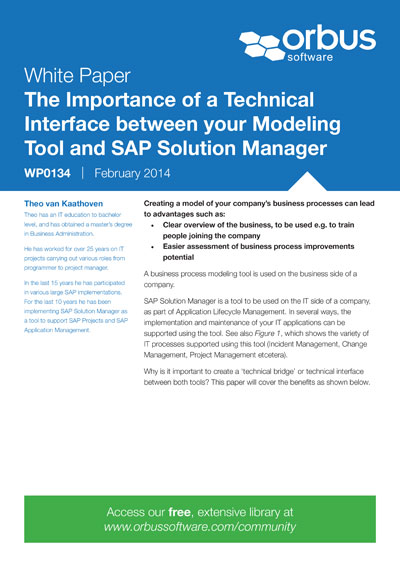 The Importance of a Technical Interface between your Modeling Tool and SAP Solution Manager