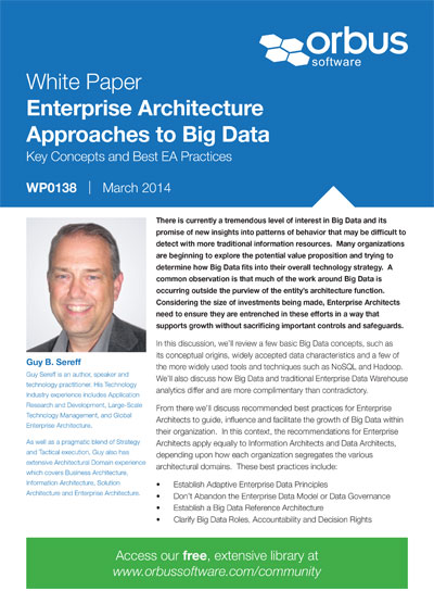 Enterprise Architecture Approaches to Big Data: Key Concepts and Best EA Practices