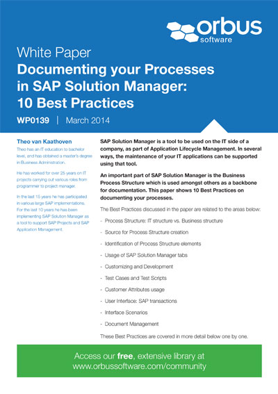 Documenting your Processes in SAP Solution Manager: 10 Best Practices
