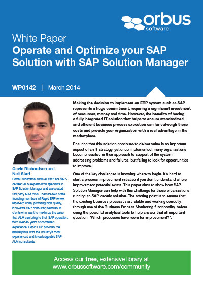 Operate and Optimize your SAP Solution with SAP Solution Manager: Part 1