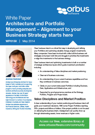 Architecture and Portfolio Management – Alignment to your Business Strategy starts here