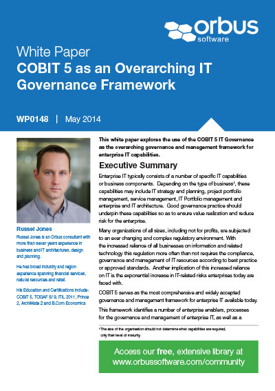COBIT 5 as an Overarching IT Governance Framework
