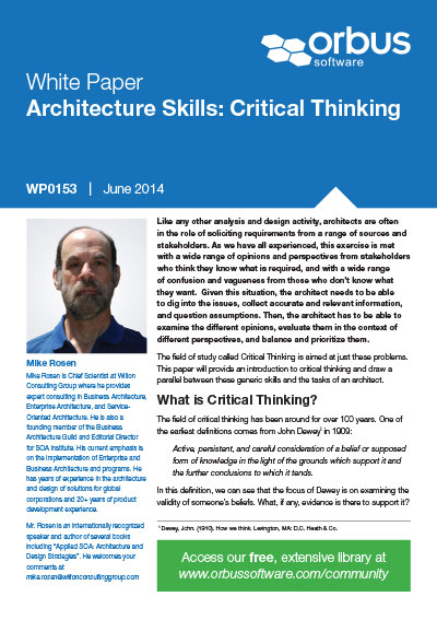 Architecture Skills: Critical Thinking