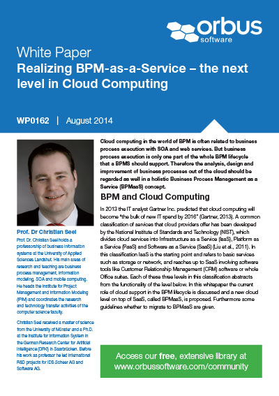 Realizing BPM-as-a-Service - The next level in Cloud Computing