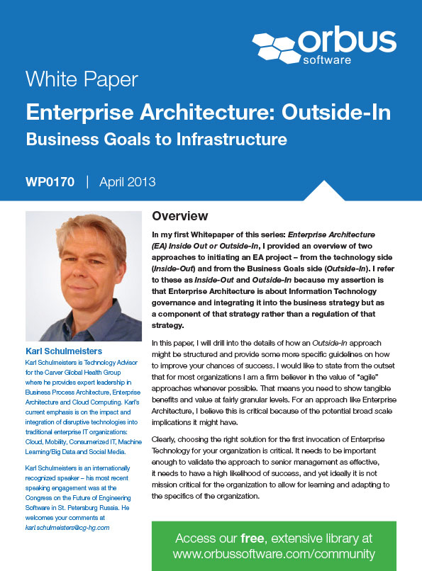 Enterprise Architecture: Outside-In Business Goals to Infrastructure