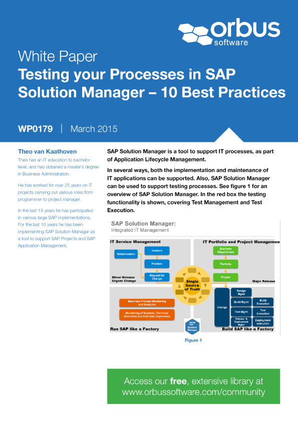 Testing your Processes in SAP Solution Manager