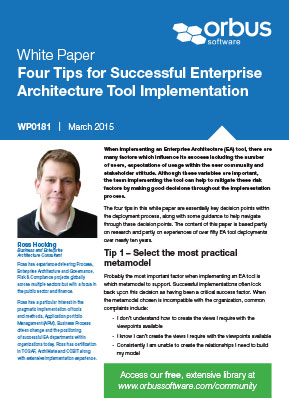 Four Tips for Successful Enterprise Architecture Tool Implementation