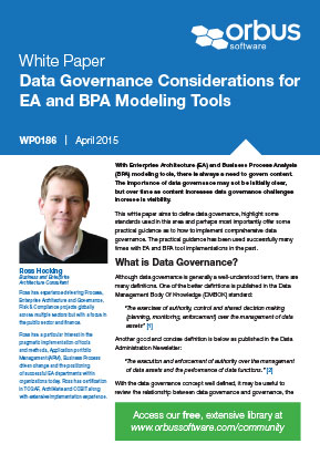 Data Governance Considerations for EA and BPA Modeling Tools