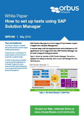How to set up tests using SAP Solution Manager