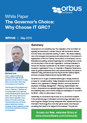 The Governor's Choice - Why Choose IT-GRC?