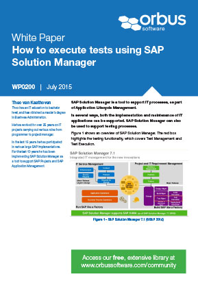 How to execute tests using SAP Solution Manager