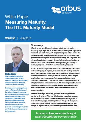 Measuring Maturity: The ITIL Maturity Model